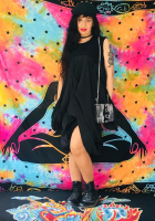 DL19-15 SUBSTRACTIVE PATTERN BLACK DRESS AND SLING LEATHER