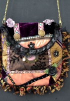 DL332victorian crazy patchwork purse