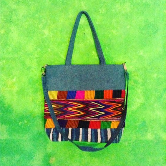 Sling big bag in canvas blue petrol, indian embroidery