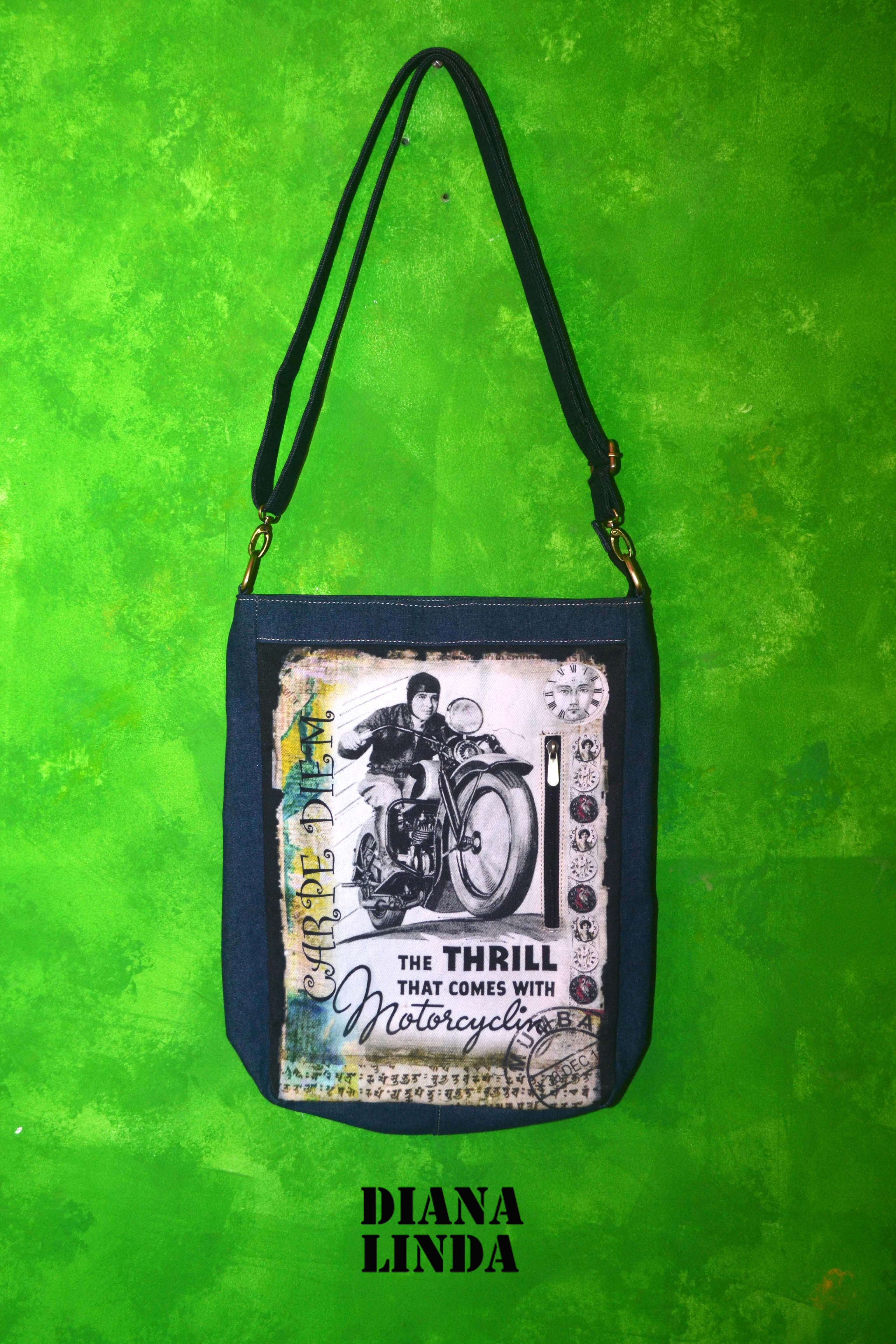 DL 701 DESI RIDE CARPE DIEAM DENIM THRILL MOTORCYCLE MESSENGER BAG