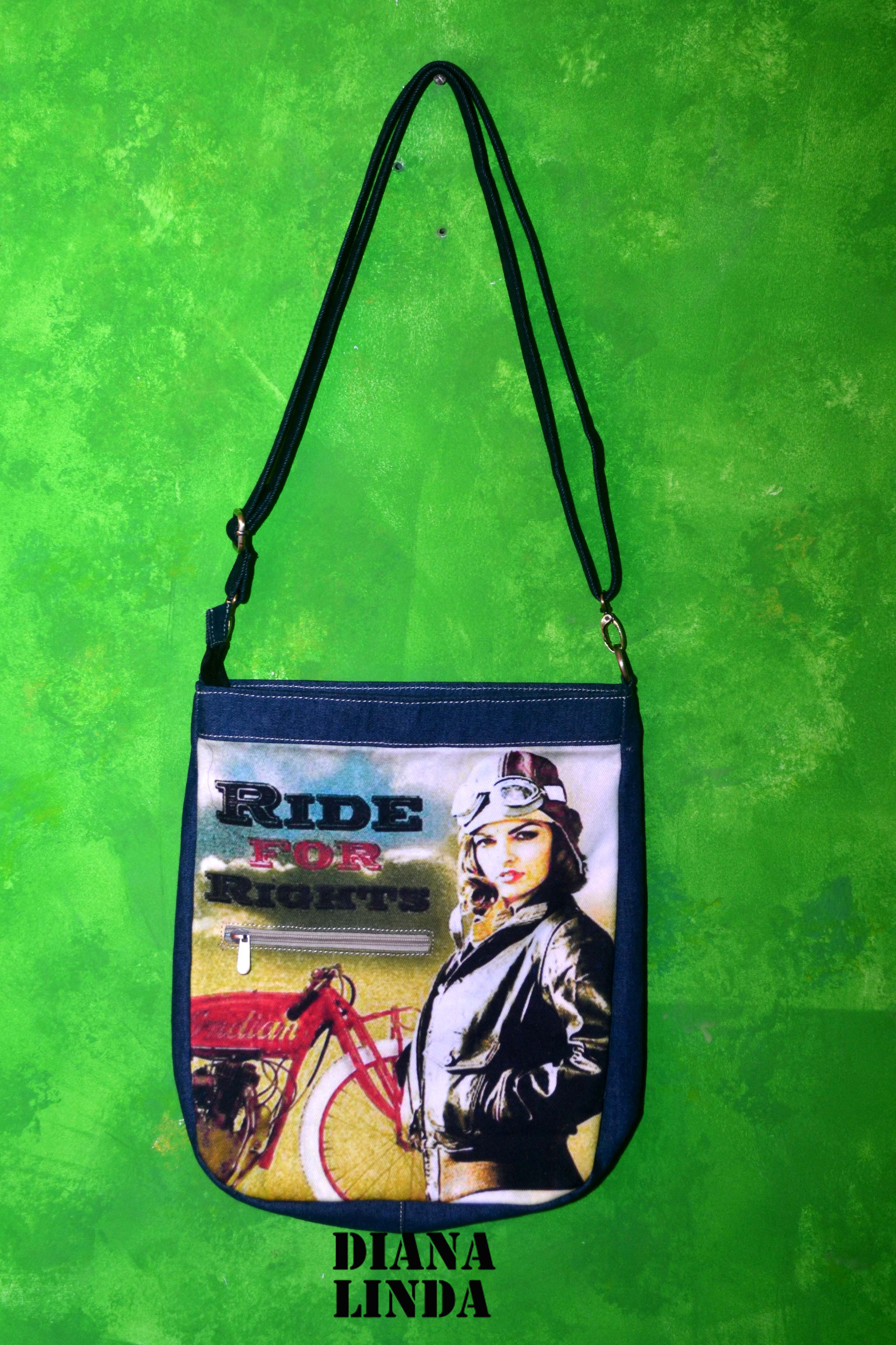 DL 701 DESI RIDE FOR RIGHTS DENIM JUTE BIG SLING BAG
