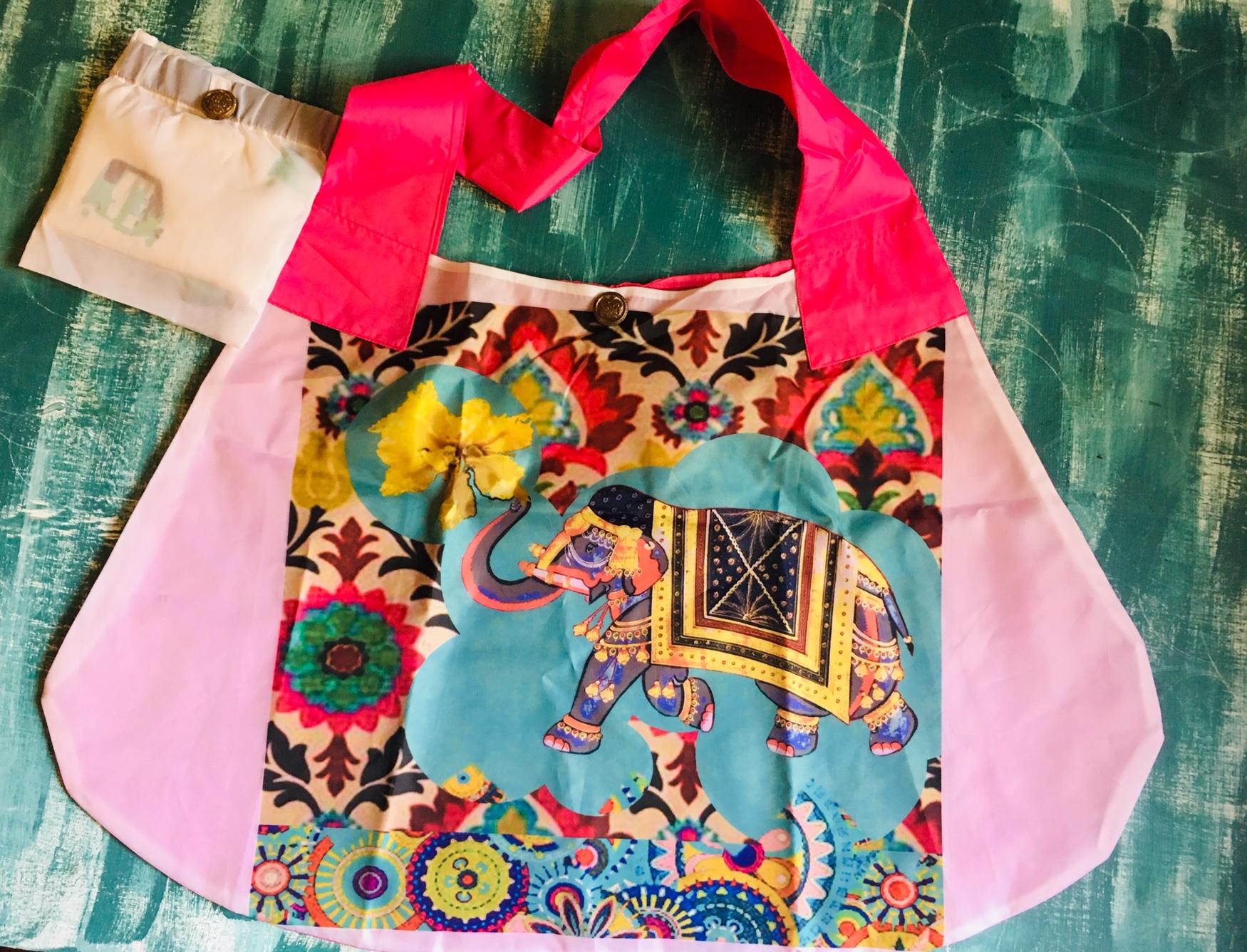 DL19-55 foldable shop bag Blue elephant