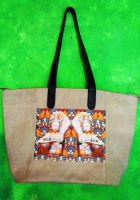 Big shopping bag in beige canvas and leather handles