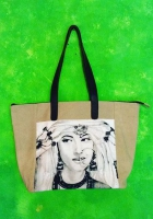 Big shopping bag in beige canvas and leahter handles