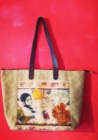 Big Canvas shopping bag, with leather handles