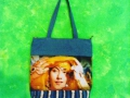 Sling big bag in blue petrol canvas, bollywood digital print