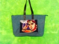 Big shopping bag in blue petrol canvas and leather handles