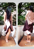 DL19-32 SUBSTRACTIVE PATTERN DRESS BROWN AND PINK