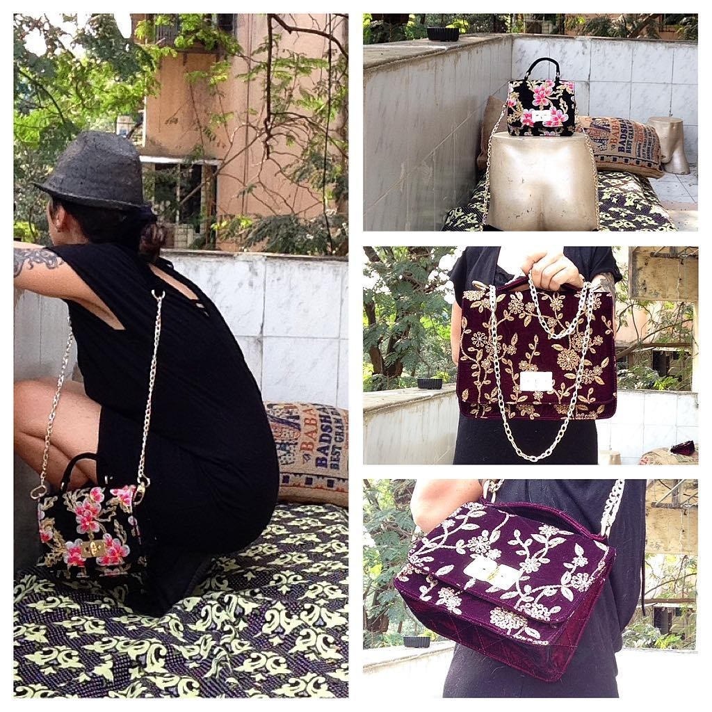 DL19-42 VELVET PURSE CHAIN AND EMBROIDERY