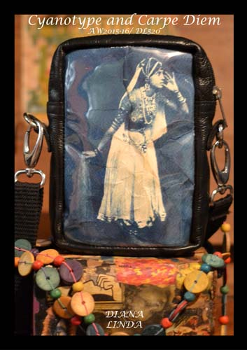 DL520 sling cyanotype bag with leather